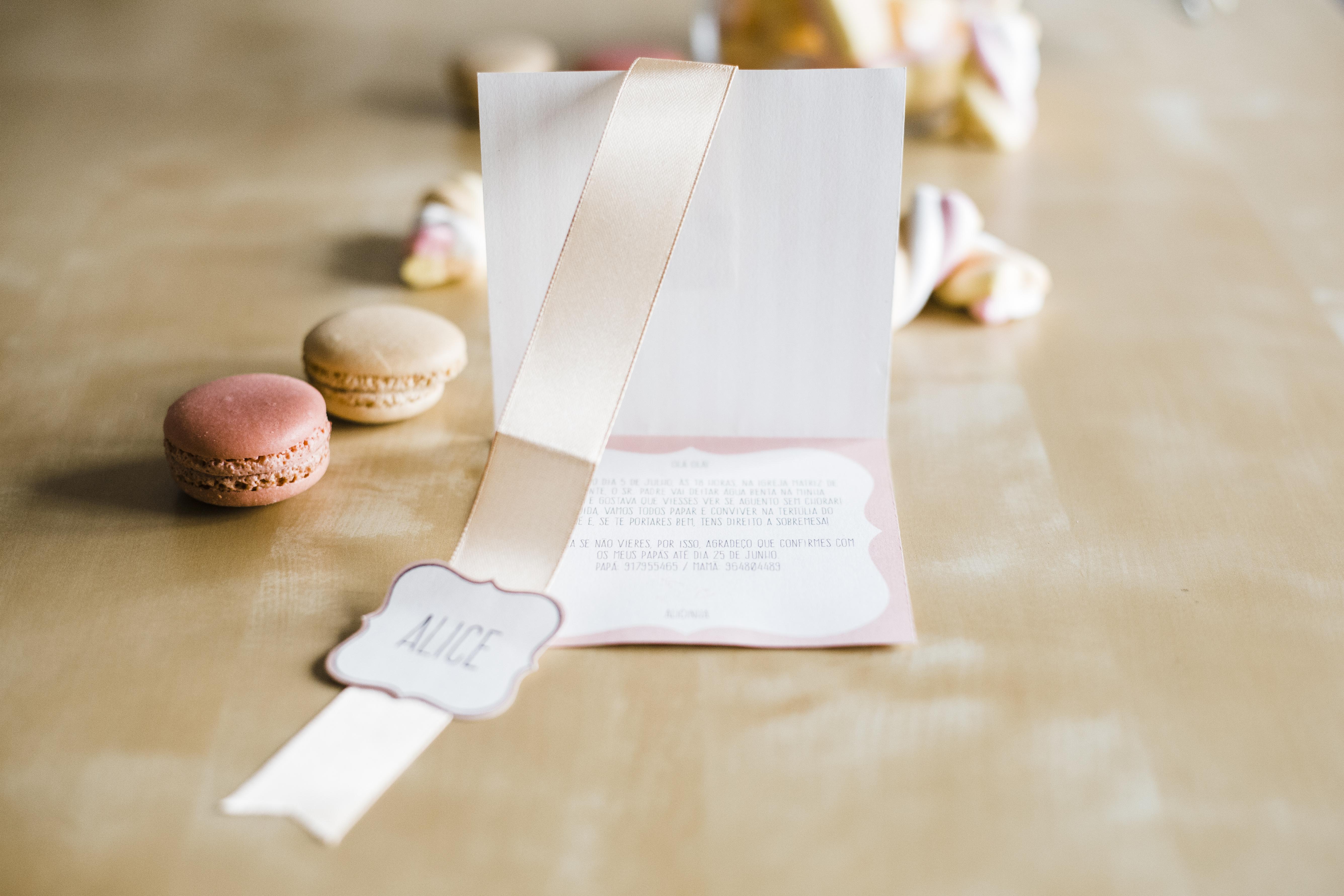 Pink Striped Bespoke Christening invitation